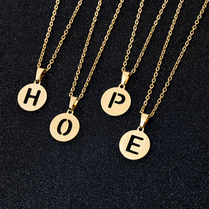 Trendy Stainless Steel round 26 Letters pendant Necklace for Girl Women Gold color small A-Z Letter Jewerly Gift