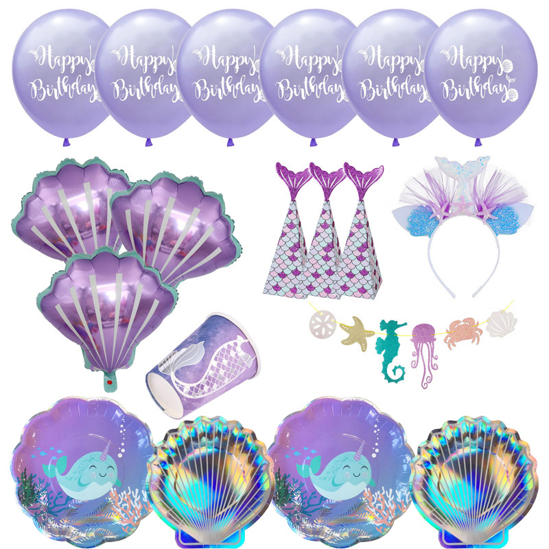 Little Mermaid Fantastic Purple Mermaid Birthday Party Disposable Tableware Decoration Paper Plate Cup Balloons Supplies