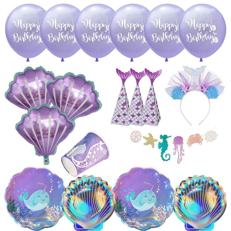 Маленькая Русалочка, фантастическая фиолетовая Русалочка, одноразовая посуда для дня рождения, украшение, бумажная тарелка, чашка, шары, пр...