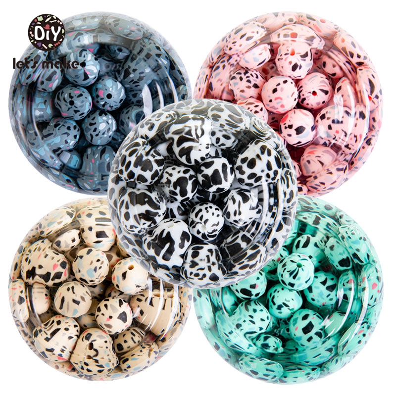 Let's Make 50pcs Silicone Beads 15mm Leopard Print Eco-friendly BPA Free Food Grade Teether DIY Necklace Jewelry Accessories