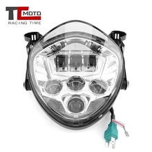 TCMOTO Modified Motorcycle Led Headlight DRL Hi&Lo Beam Bulb with Bracket for Harley Cafer Racer Chopper Bobber Street Tracker universal led angel eye projector daymaker high low beam headlight cruiser chopper cafe racer old school bobber touring