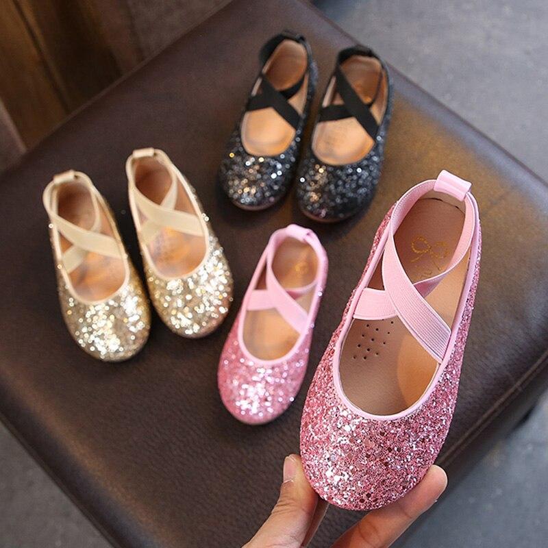Балетные балетки для девочек; Вечерние танцевальные туфли для маленьких девочек; Блестящие детские туфли; Золотистые блестящие туфли принц...