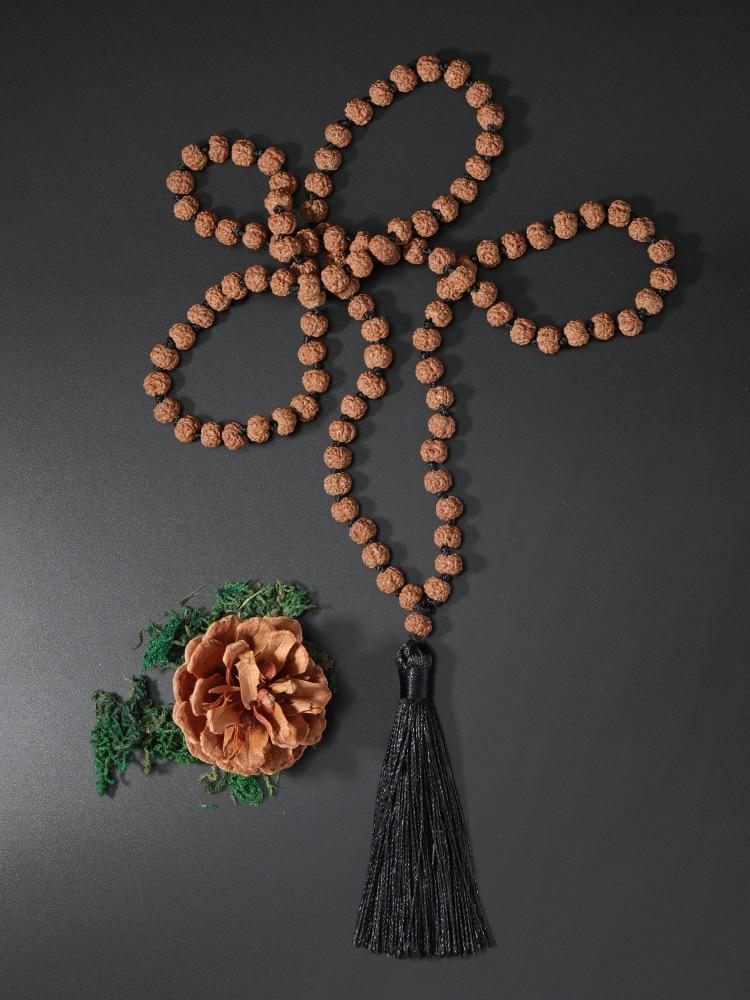 OAIITE 108 Rudraksha Seeds Mala Bead Necklace Meditation Prayer Tassel Necklace for Women Men