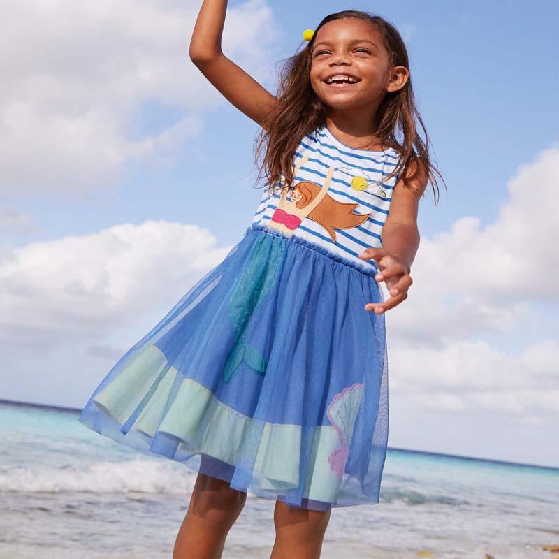 2021; Летнее платье для девочек; Одежда для малышей в стиле «русалочка» Одежда на выход костюм двух до семи лет; Детское платье принцессы для д...