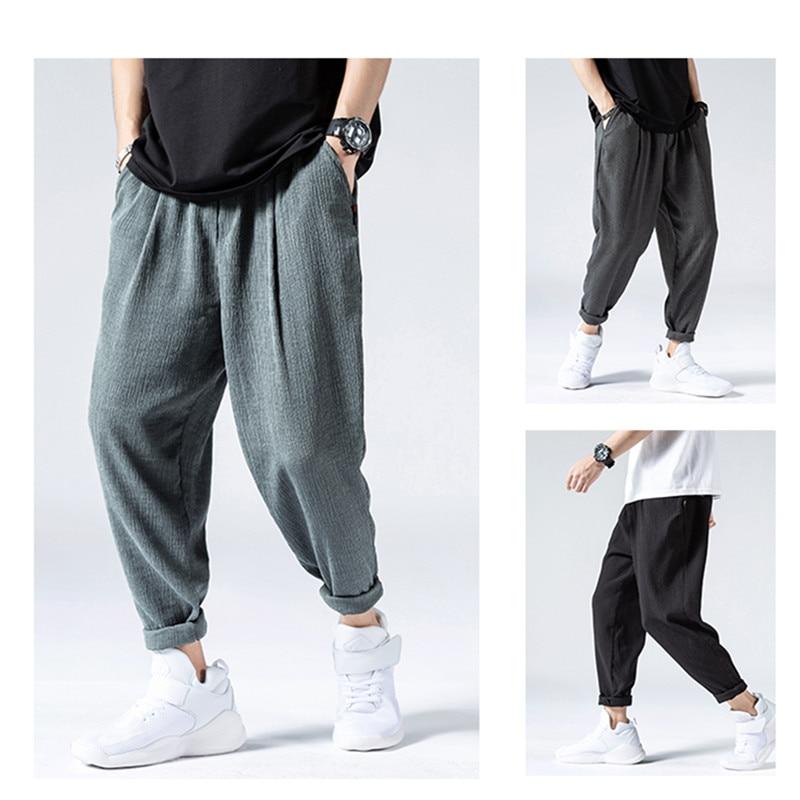 Summer Thin Ice Silk Casual Pants Men Fashion Hip Hop Loose Plus Size Quick Drying Pants Mens Clothing Harajuku Harem Pants Male 2