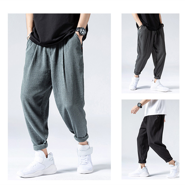 Summer Thin Ice Silk Casual Pants Men Fashion Hip Hop Loose Plus Size Quick Drying Pants Mens Clothing Harajuku Harem Pants Male 2