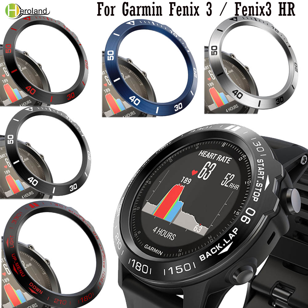 Watch Bezel Ring Styling Frame Steel Case For Garmin Fenix 3 / Fenix 3 HR  Adhesive Anti Scratch Metal Cover Protective Ring New