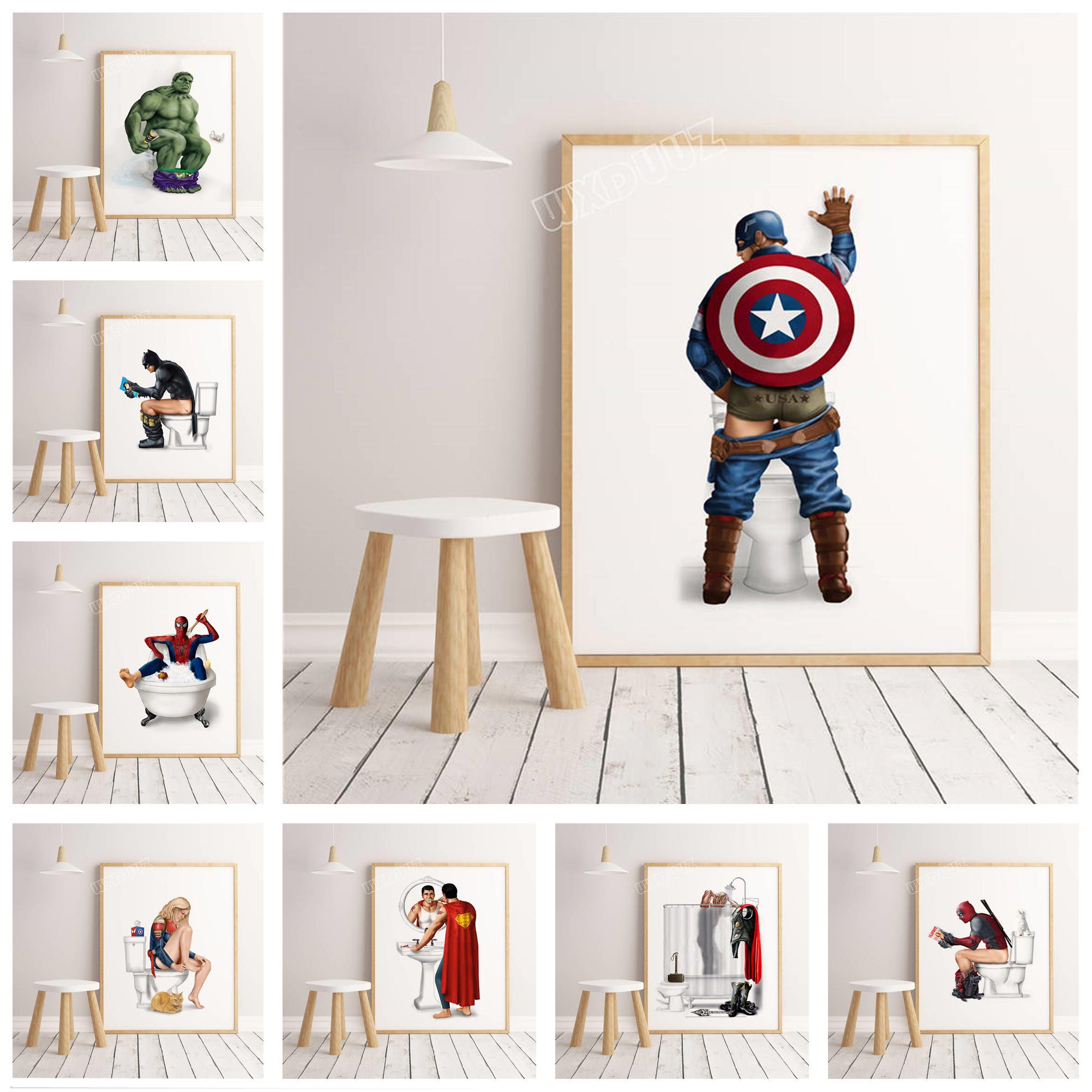 Canvas Painting Decoration Nordic Poster Hulk Superhero Batman Spiderman Bathroom Captain-America