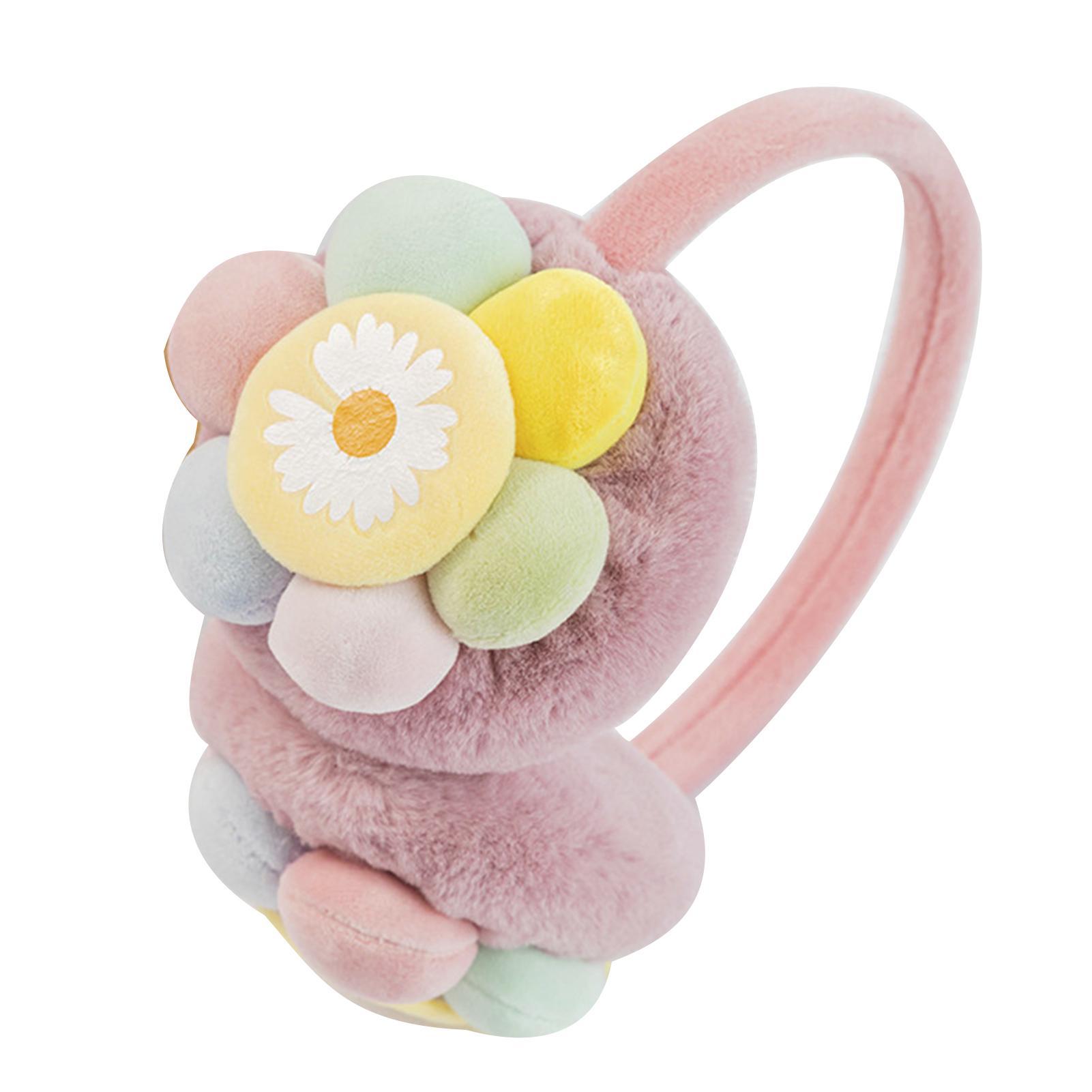 Outdoor Winter Earmuffs Kids Cute Flower Sunflower Plush Earmuff Boys Girls Ear Warmer Ear Cover Protector Riding Ear Muffs