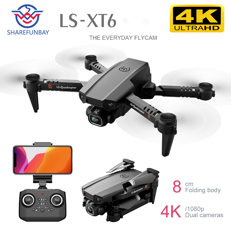 SHAREFUNBAY drone 4k HD dual lens visual positioning 1080P WiFi FPV drone height preservation RC Quadcopter practice drone