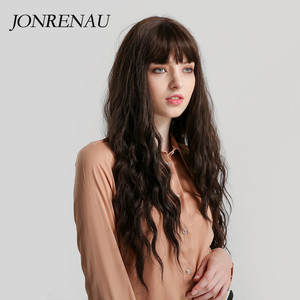 Image 2 - JONRENAU Long Water Wave Hair Women Fashion Wig with Bang  Heat Resistant Synthetic Wigs for African American