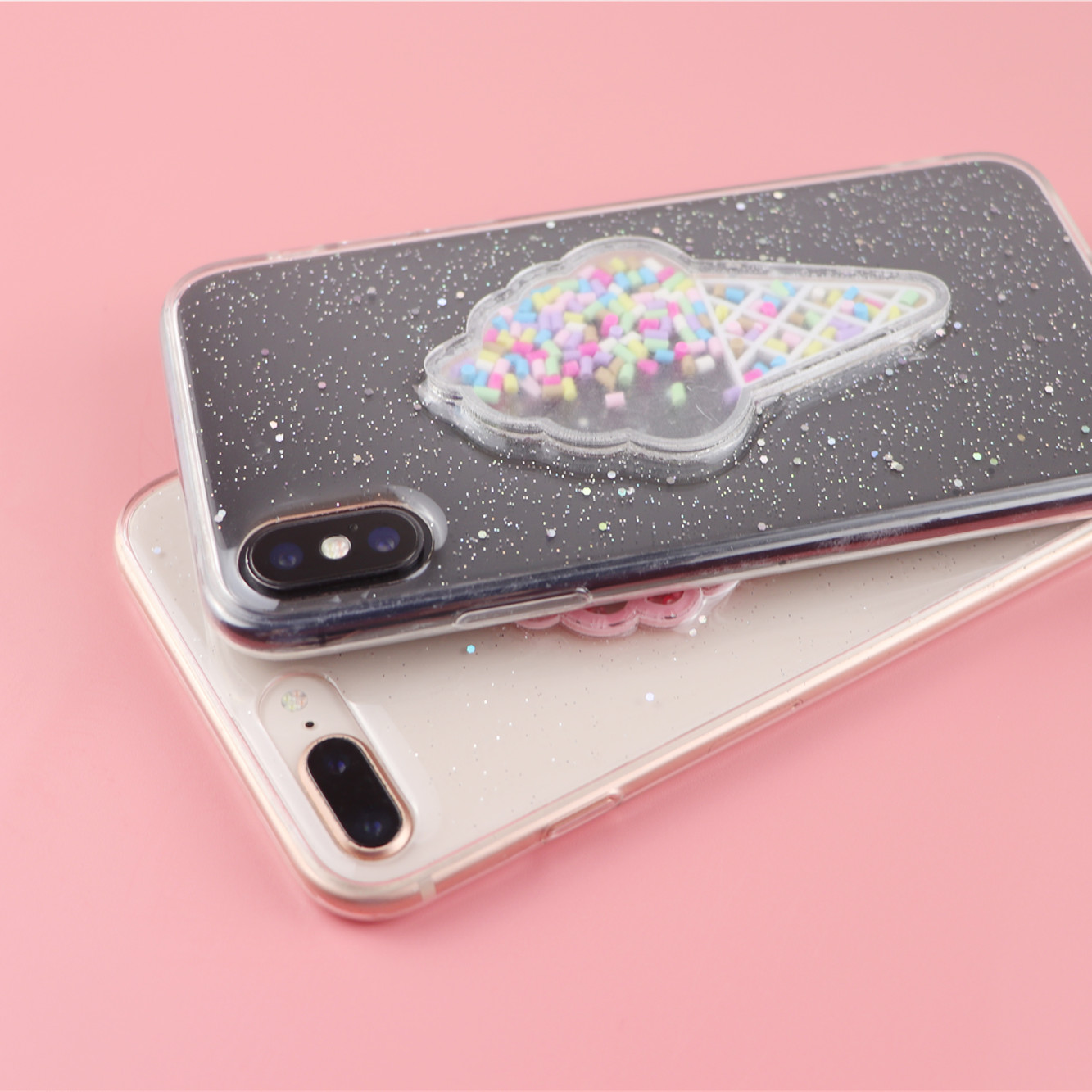 Pink Glitter Bling Ice Cream Phone cases for iphone XS xr 7 8 PLUS Cute Rainbow case for iphone XS MAX XR 7 8 6s Soft TPU cover