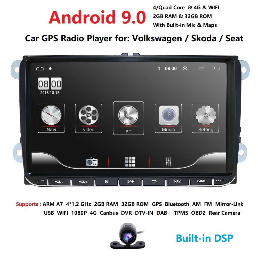 2 din 9'' Android 9.0 2G RAM Car Radio Stereo GPS Navi for VW Passat B6 CC Polo GOLF 5 6 Touran Jetta Tiguan Magotan Seat BT SWC