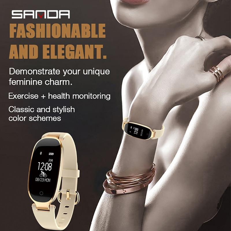 SANDA S3 musique intelligente pour changer montre-bracelet filles robe horloge femmes bijoux moniteur de fréquence cardiaque Bluetooth pour IPhone Huawei Samsung