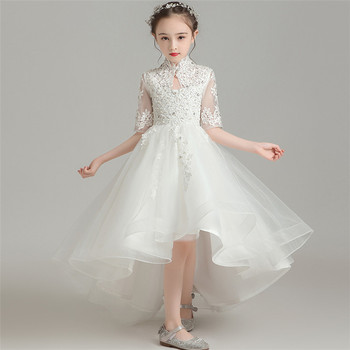 2019Luxury New Children Girls Elegant White Wine-red Embroidery Lace Birthday Wedding Party Princess Front Short Back Long Dress