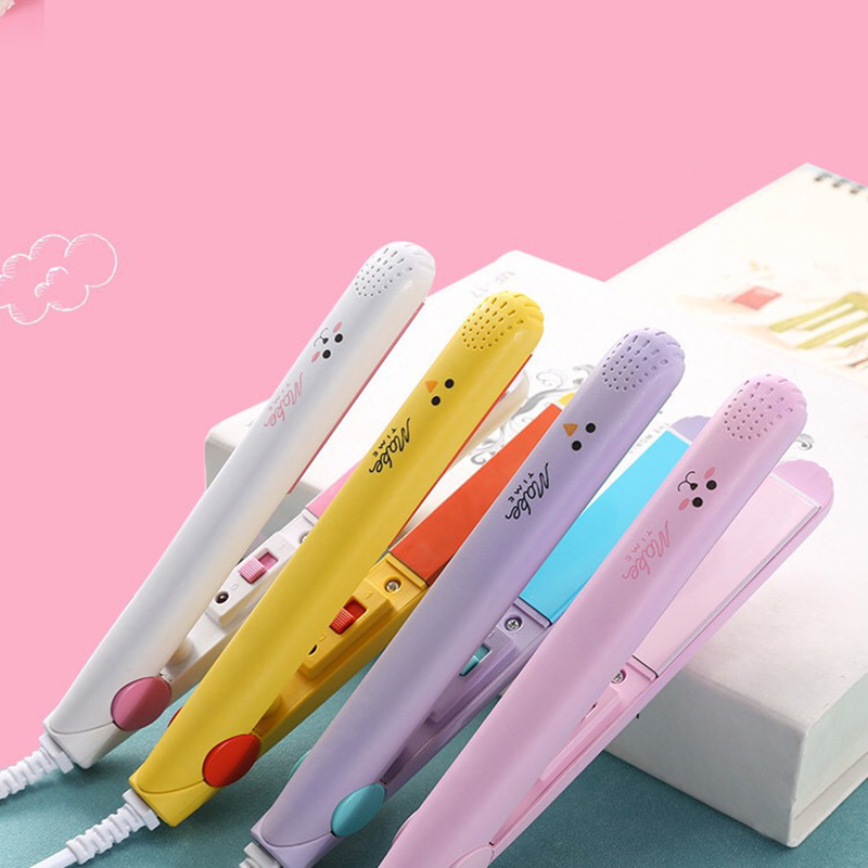 Mini Hair Curler 2 In 1 Hair Straightener Ceramic Electronic Fast Heating Straightening Iron&Curling Iron Styling Tool Dry & Wet