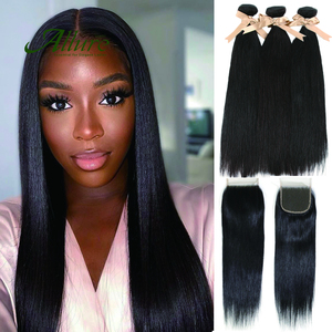 Straight Hair 3 Bundles With Lace Closure Allure Peruvian Non Remy Human Hair Hair Extensions Bundles With Closure Free Shipping