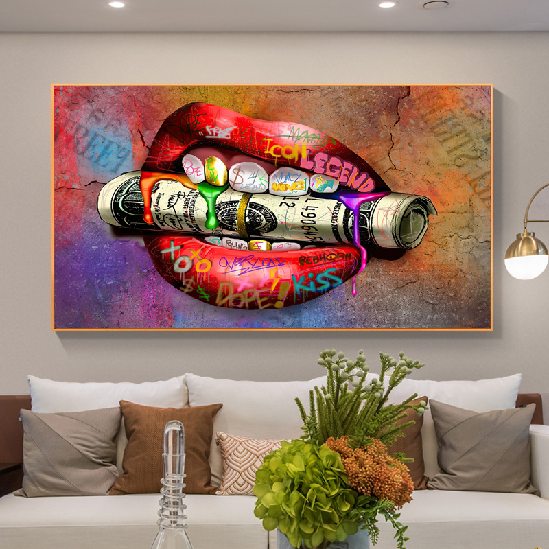 Carteles de dinero en la boca para decoración del hogar, pintura en lienzo, grafiti, Cuadros decorativos de pared, imagen artística para sala de estar
