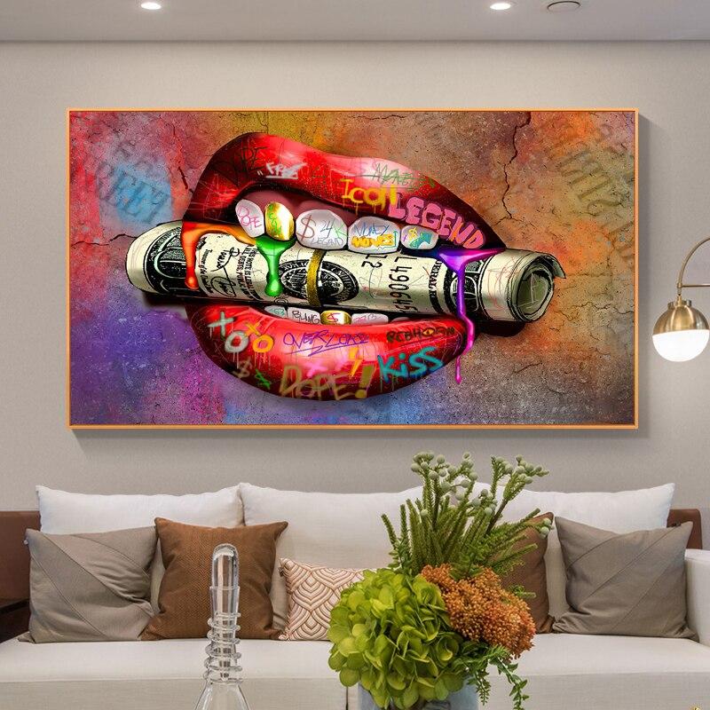 Argent Dollar dans la bouche affiches imprime sur toile peinture Graffiti Cuadros décoratif mur Art photo pour salon décor à la maison