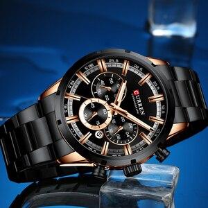 Image 4 - Luxus Marke CURREN Sportliche Uhr Herren Quarz Chronograph Armbanduhren mit Leucht hände 8355 Mode Edelstahl Uhr