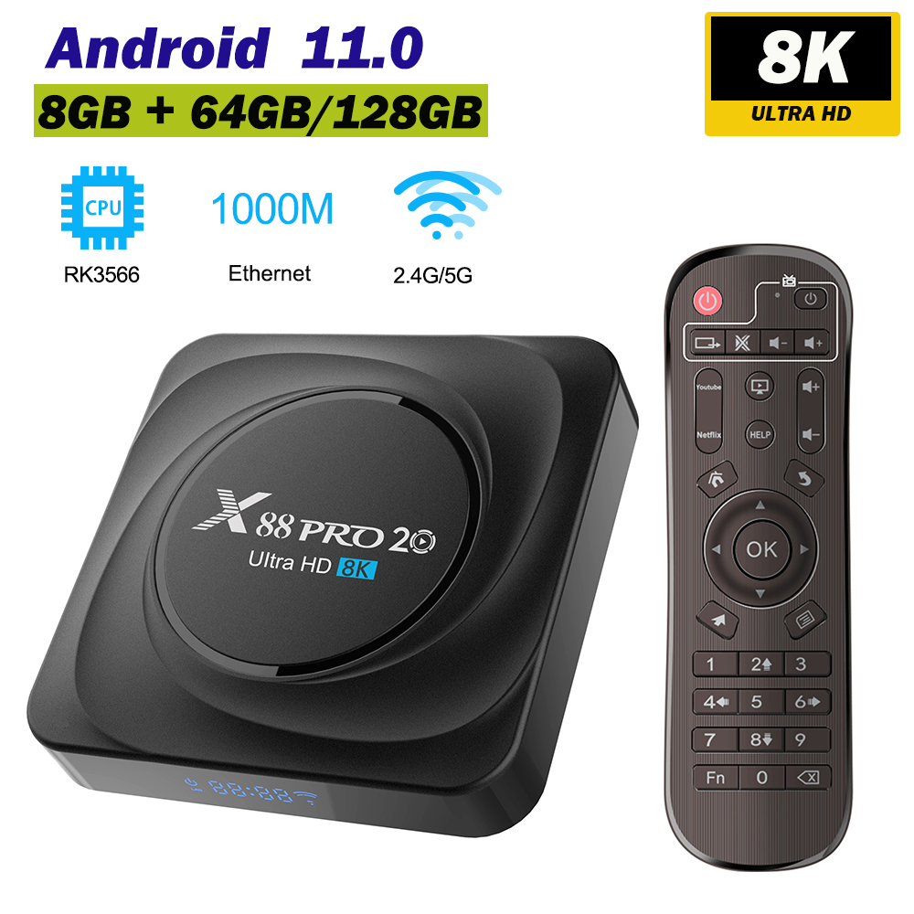 X88 PRO 20 8K TV Box Android 11 8GB RAM 128GB Rockchip RK3566 Supports Google Assistant Youtube 8K Media Player Set Top Box