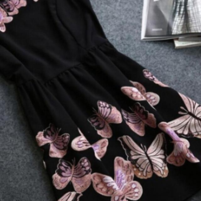 Female Lady O-Neck Slim Big Swing Ball Gown Dress Vestido Women Fashion Party Dress Sleeveless Back Zipper Butterfly Print Dress 3