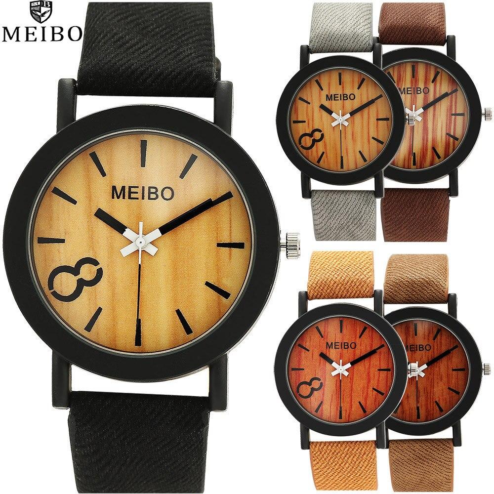 2019  Band Quartz Men Watches Casual Leather Strap Watch Wood Vintage Wristwatch Relogio Masculino Simulation Wooden Watch Hot