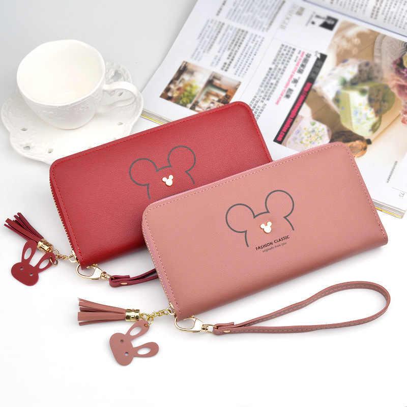 Disney Mickey mouse grande bonito carteira senhora longo borla zíper chave bolsa da moeda titular do cartão de estudante pequeno mini carteira Minnie embreagem