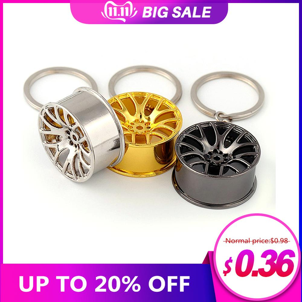 Metal Keychain Car Wheel Hub Auto Logos Key Chain Auto Repair Parts Car Mini Tire Wheel Key Chain 3 Color mini cooper keychain image