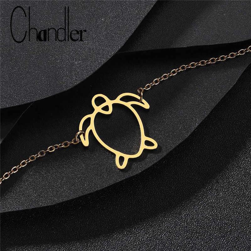 Chandler Hollow out Turtle Gold Color Chain Adjustable Charm Penguin Bracelets For Lady Women's Cute Romantic Bracelete Jewelry