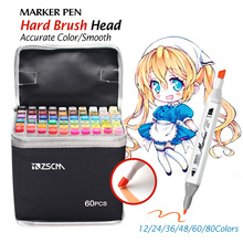 12~80 Colors Beginner Alcohol ink Markers Manga Drawing Marker Pen Sketch Oily Double-headed Soft Brush Marker Pen Art Supplies new soft brush fineliner calligraphy twin marker black ink drawing sketch brush marker pen arts supplies