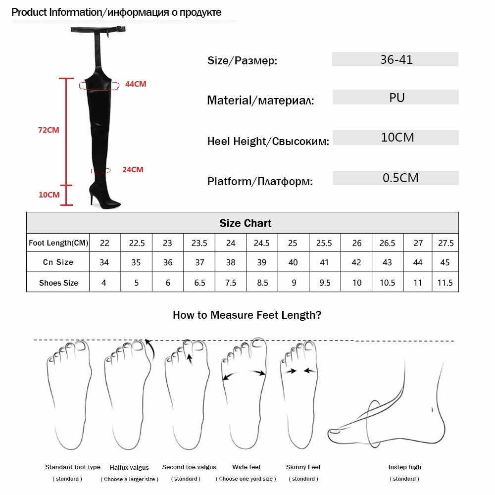 2019 Mới Phụ Nữ Trên Đầu Gối Giày PU Quá Đầu Gối Cổ Cao Boot Rihanna Phong Cách Giày Nữ 10 Cm giày Cao Gót Giày Mũi Nhọn