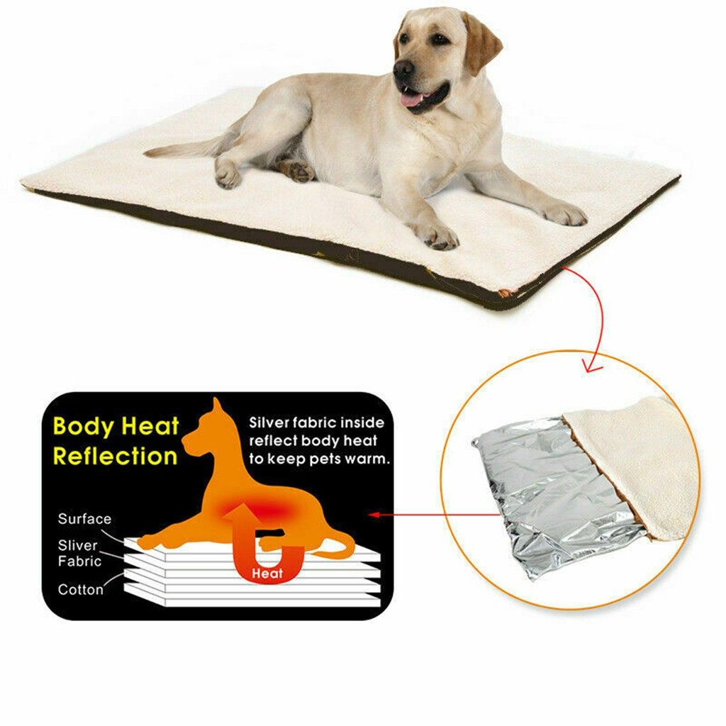 Self Heating Pet Bed Soft Fleece Comfortable Mat Dog Cat Winter Warmer Blanket Puppy Dog Electric Blanket For Cats Dogs#0821y30