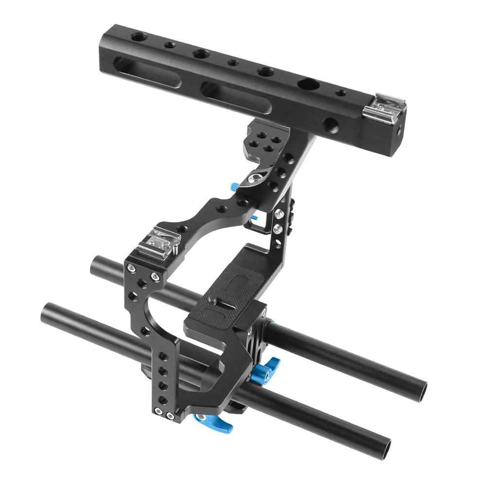 อลูมิเนียมอัลลอยด์กล้องฟิล์มวิดีโอ Stabilizer RIG + ด้ามจับ + Rod สำหรับ Sony A7II A7R A7SII A6000 a6500 Panasonic GH4