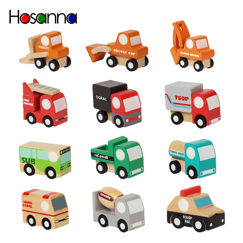 Cute Wooden Assorted Vehicles Raced Model Mini Toy Car Airplane Set For Toddlers Baby Boy Kids Toys For Children Best Gift
