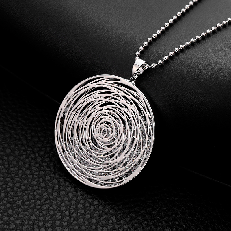 Long Necklaces For Women Gold Silver Plated Round Pendant Sweater Accessory Fashion Statement Jewelry Crystal Necklace Gift 2020
