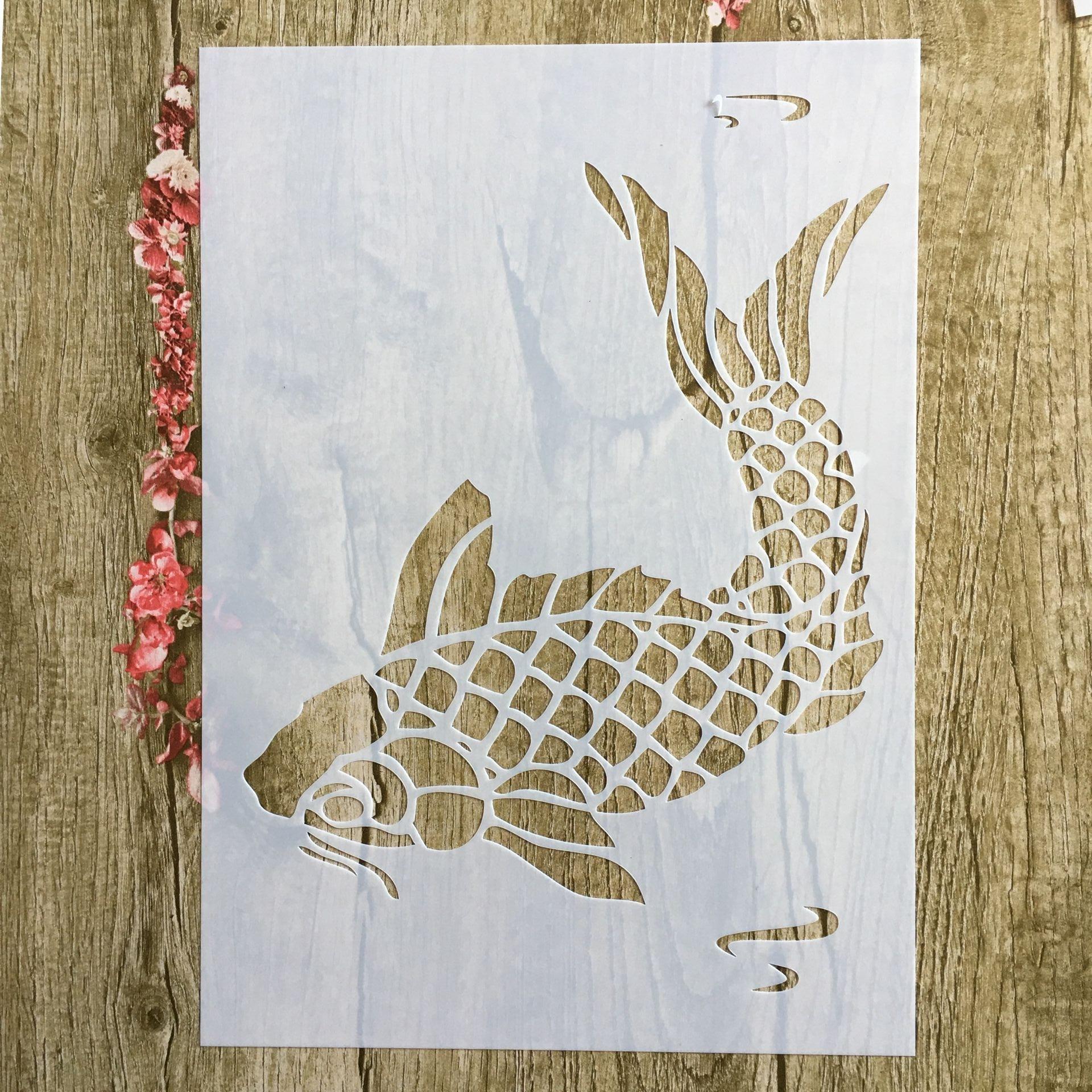 A4 29 * 21cm Animal Carp Fish DIY Stencils Wall Painting Scrapbook Coloring Embossing Album Decorative Paper Card Template