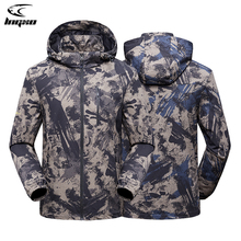 Hunting Rain-Jacket Windbreaker Coat Men Tactical Waterproof Hiking Outdoor Camouflage
