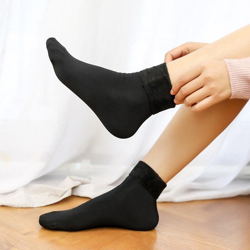 Casual Socks For Girl&Boy Nylon Plus Velvet Thickening Socks Solid Breathable Elastic Force Lady's Mid Women Warm Socks Winter 4