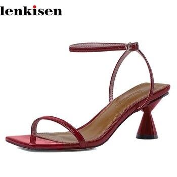 Lenkisen western style maiden high strenge heels convenient mature peep toe ankle buckle straps office lady dress sandals L03