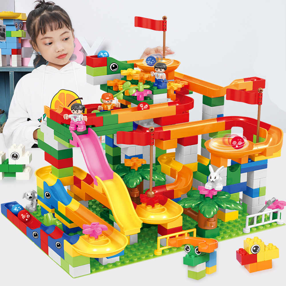 88-352PCS Marble Race Run Block Maze Ball Track Funnel Slide Blocks Compatible Legoed Duploed DIY Bricks Toys for Children Gift