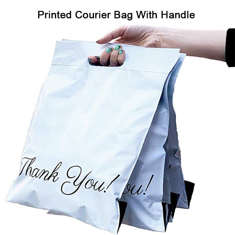 50pcs Printed Tote Bag Express Bag With Handle Courier Bag Self-Seal Adhesive Eco Waterproof Plastic Shipping Mailing Bag