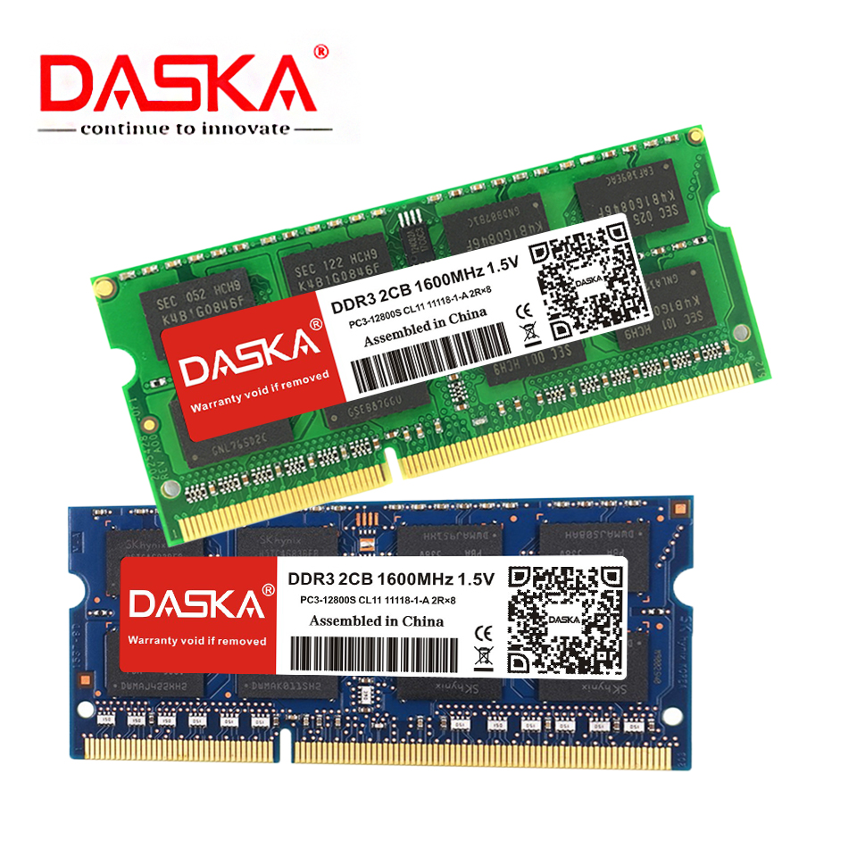 DASKA Laptop Ram DDR3 2GB 4GB 8GB 1600/1333 MHz SO-DIMM DDR 3 Notebook Memory 204pin 1.35V-1.5V Lifetime Warranty
