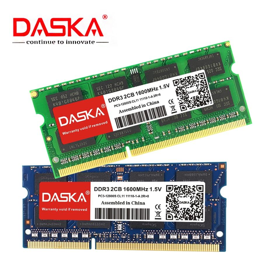 DASKA Laptop ram DDR3 2GB 4GB 8GB 1600/1333 MHz SO DIMM DDR 3 Notebook Memory 204pin 1.35V 1.5V Lifetime Warranty|RAMs| |  - title=