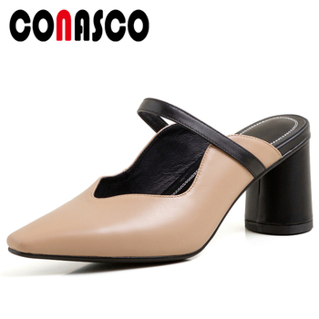 CONASCO Women Sandals Concise Elegant Pumps Ruffles Shallow Mules High Heels Summer Casual Slippers Genuine Leather Shoes Woman