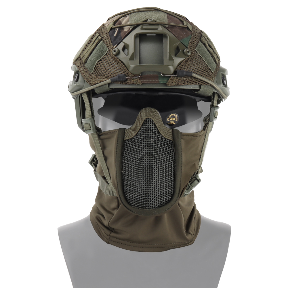 Tactical Half Face Mask Airsoft Mesh Mask Hunting CS Cycling Protective Mask Helmet Fighter Headgear