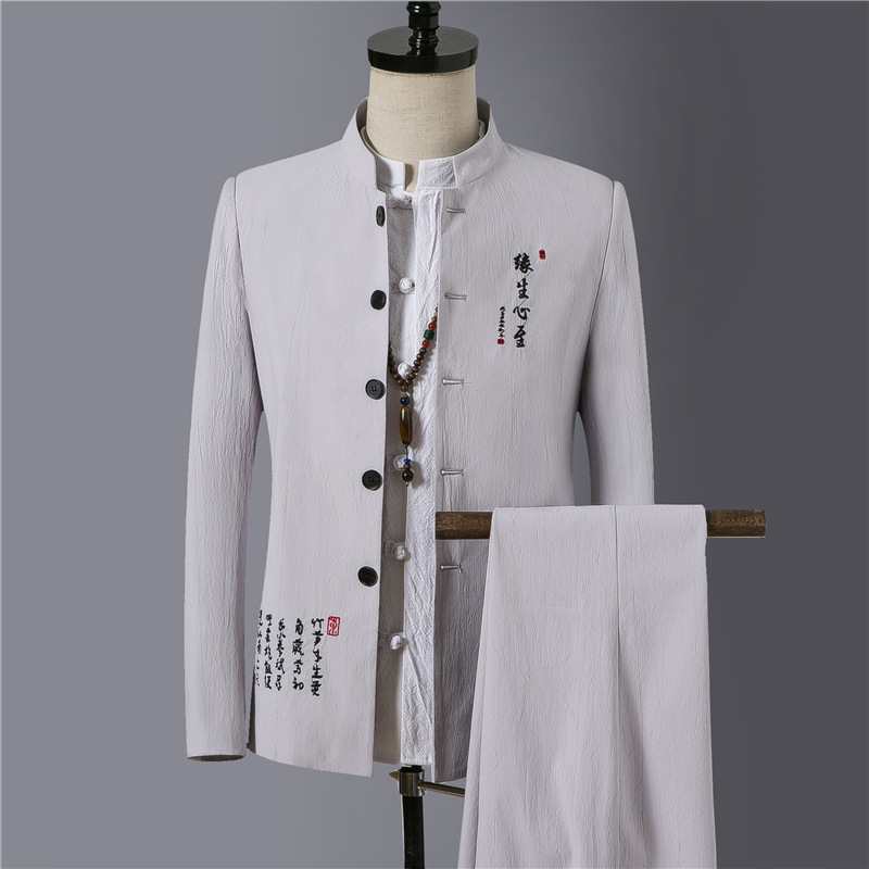 Chinese-style Fashion Men'S Wear Spring And Autumn New Style Men National Style Embroidered Stand Collar Sun Yat-sen Costume Sui