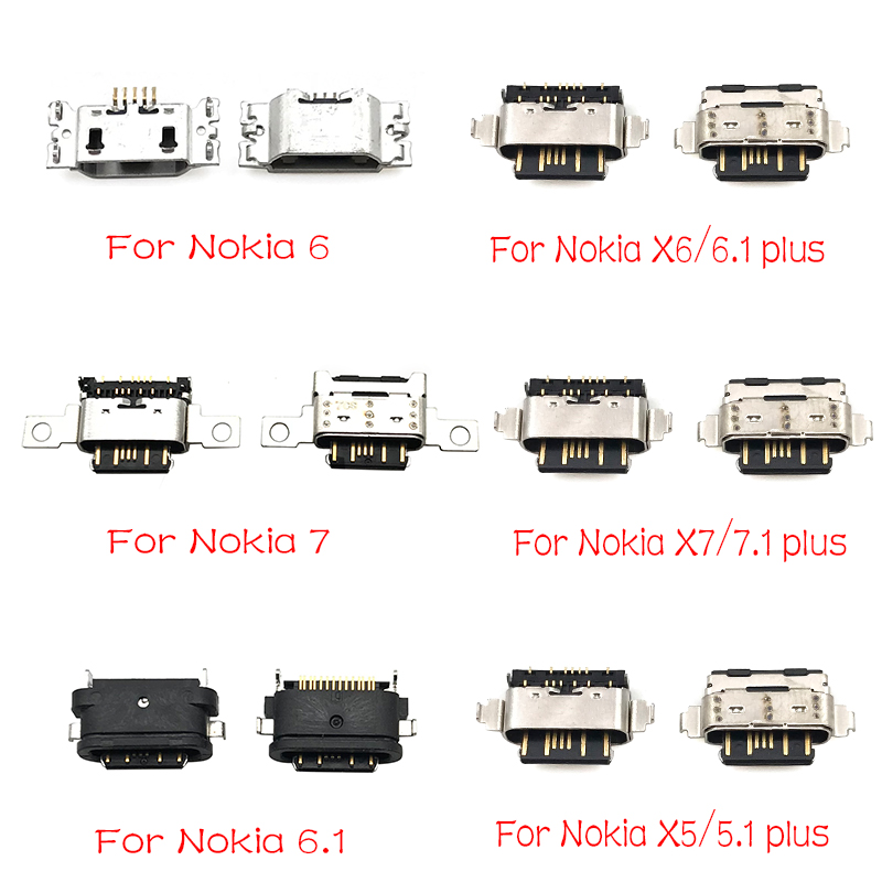 5pcs/lot For Nokia 3 6 7 Plus 8 6.1 7.1 5.1 Plus X5 X6 X7 Micro Usb Connector Charging Port Jack