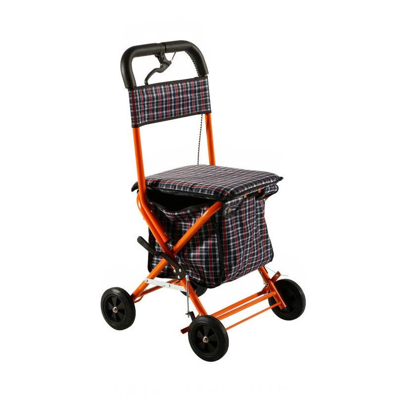 Dual Function Seniors Walker, 4-Wheeled Portable Cart With Hand Brake, Elderly Wheelchair Stroller