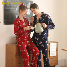 Cardigan Pajamas Couple Sleepwear Long-Sleeves Women Cute New Cotton Print Lapel And